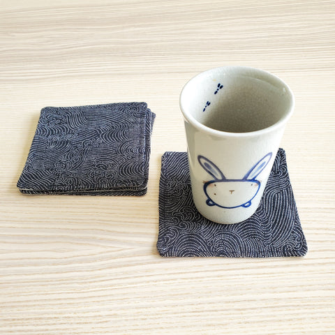 Japanese Cloth Coasters in Dotted Waves Indigo
