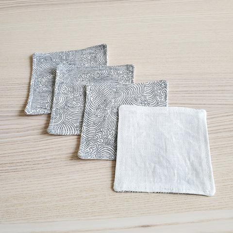 Japanese Cloth Coasters in Dotted Waves Ivory