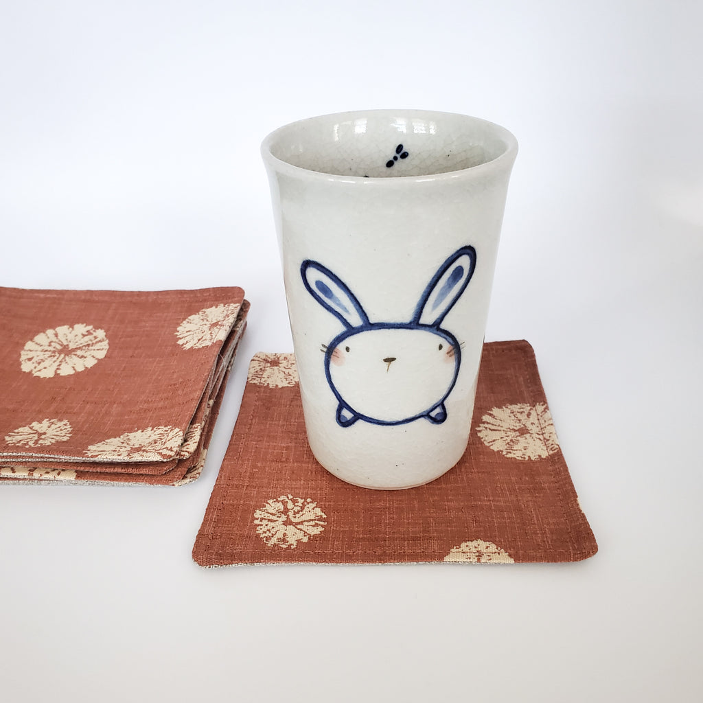 Japanese Cloth Coasters in Terra Cotta Sand Dollar