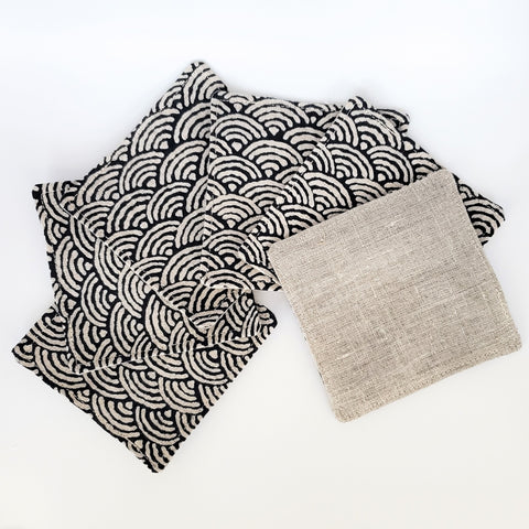Japanese Cloth Coasters in Seigaiha Wave