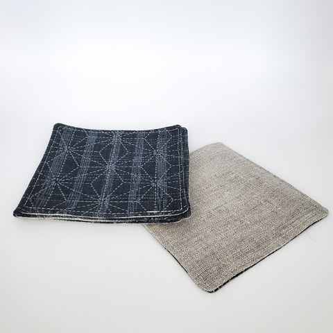 Japanese Cloth Coasters in Large Asanoha Star Blue