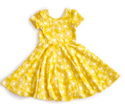 kids girls toddler baby dress twirling twirly girl yellow spring clothes handmade jersey stretch fashion