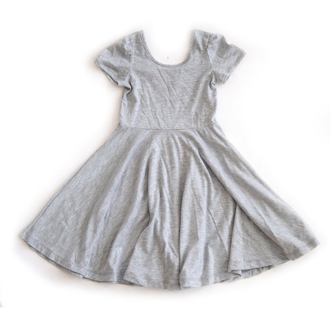 Skater Twirling girls kids baby Dress clothing in heather Grey handmade