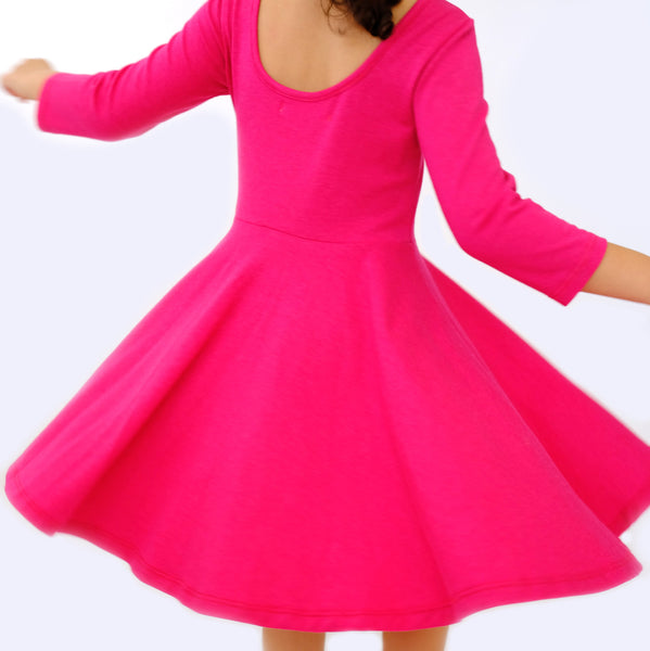 Toddler Girls Kids Spring Skater Dress in fuchsia pink