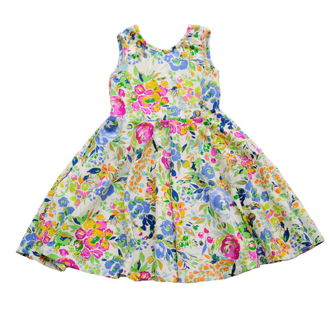 Skater Twirling girls kids baby Dress clothing in floral peony summer sleeveless