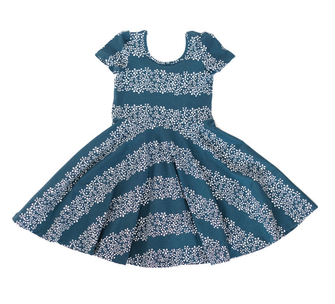 Baby Girls Twirling Skater Dress Toddler Teal Blue floral