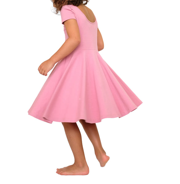Toddler Girls Kids Spring Skater Dress in dusty pink mauve twirling