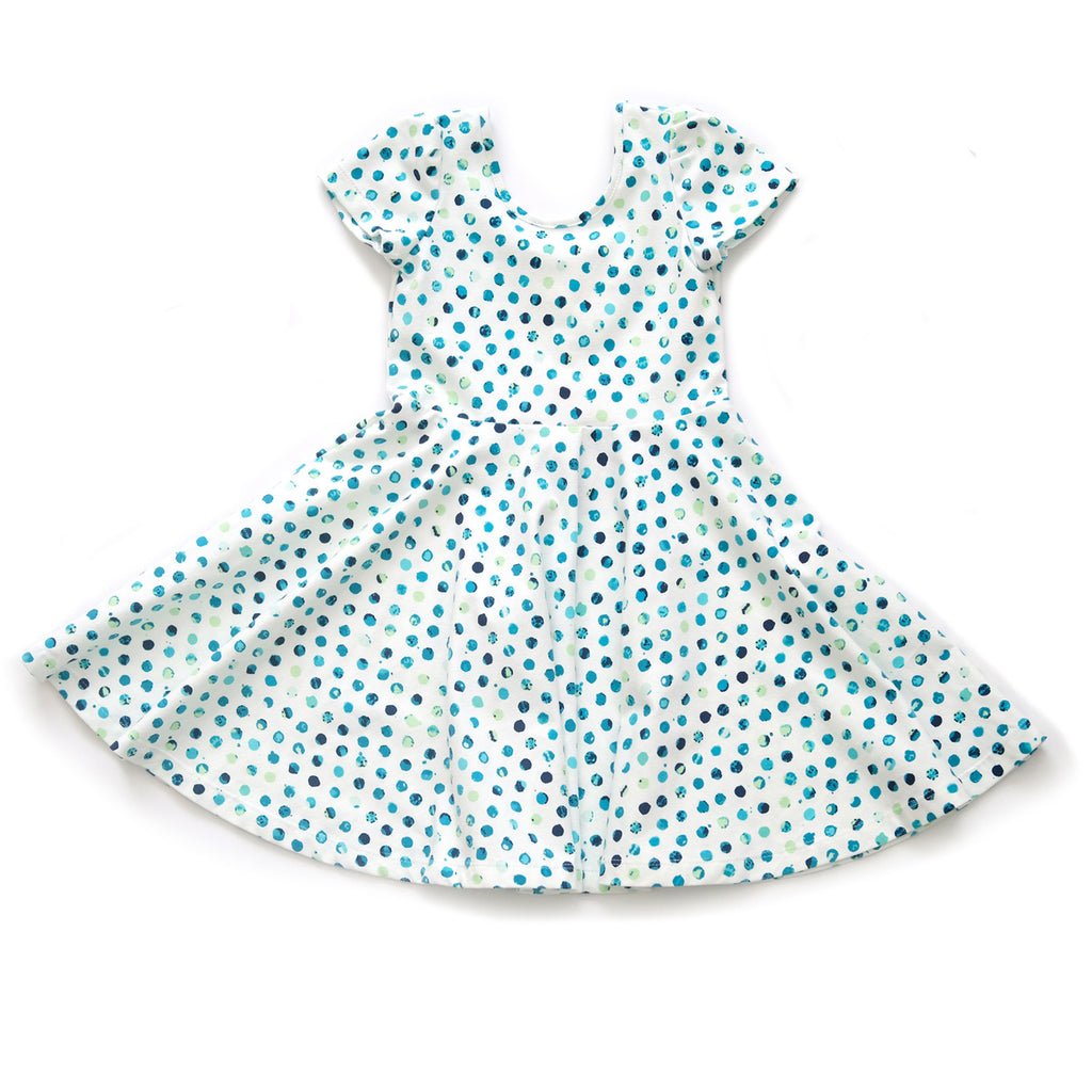 Skater Twirling girls kids baby Dress clothing in yellow polka dots