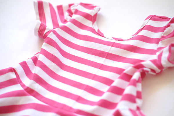 twirl spin dress girls pink toddler kids spring pink stripe twirling designer cute soft jersey outfit gift handmade