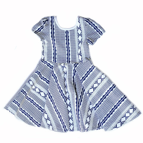Girls kids dress toddler twirl twirling spin ballerina Tribal blue aztec