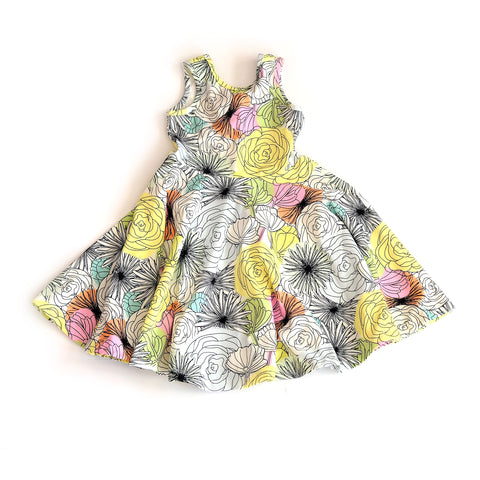 twirl spin dress girls toddler kids spring day flower floral twirling designer cute soft jersey outfit gift handmade