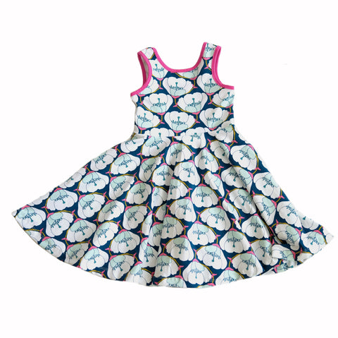 Skater Dress Spin twirl twirling floral girls girl kids clothing fashion blue baby spin