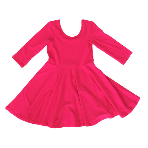 Baby Toddler Girls Kids Clothes Skater Twirl Dress in fuchsia pink