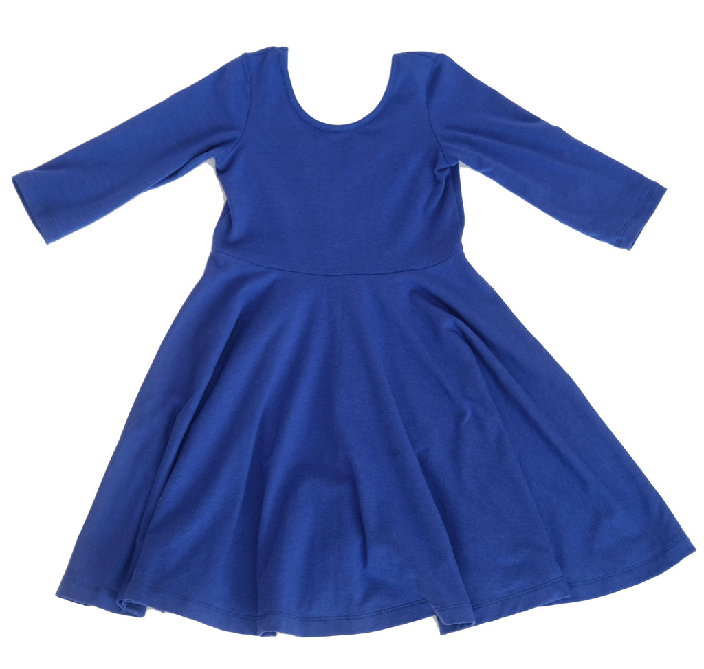 Skater Twirling girls kids baby Dress clothing in twilight blue