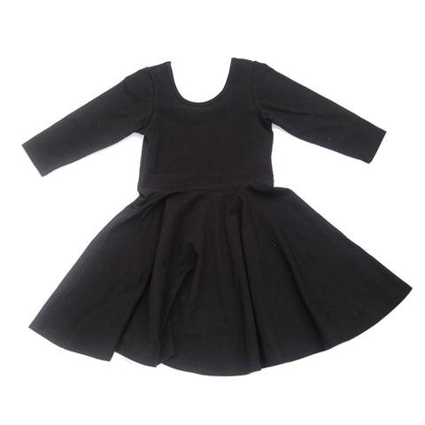 Fall Winter Twirl Dress Girls Toddler Baby Girl Black Jersey