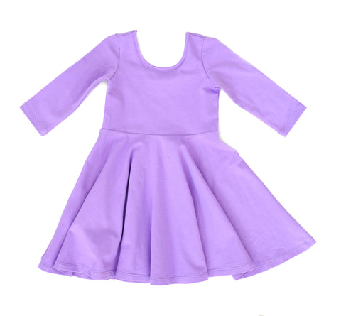 Toddler Girls Kids clothes / Skater Dress in lilac purple