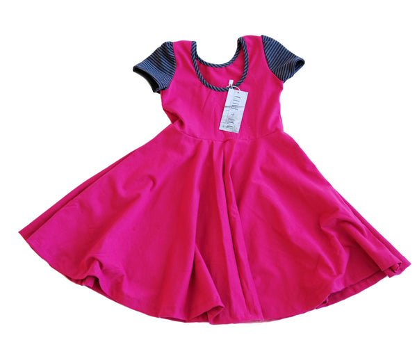 Dress Twirl Toddler Girls Kids clothes Skater Dress in cranberry jersey stripe