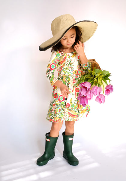 Toddler Girls Kids / Skater Dress in Floral Garden Tea Party