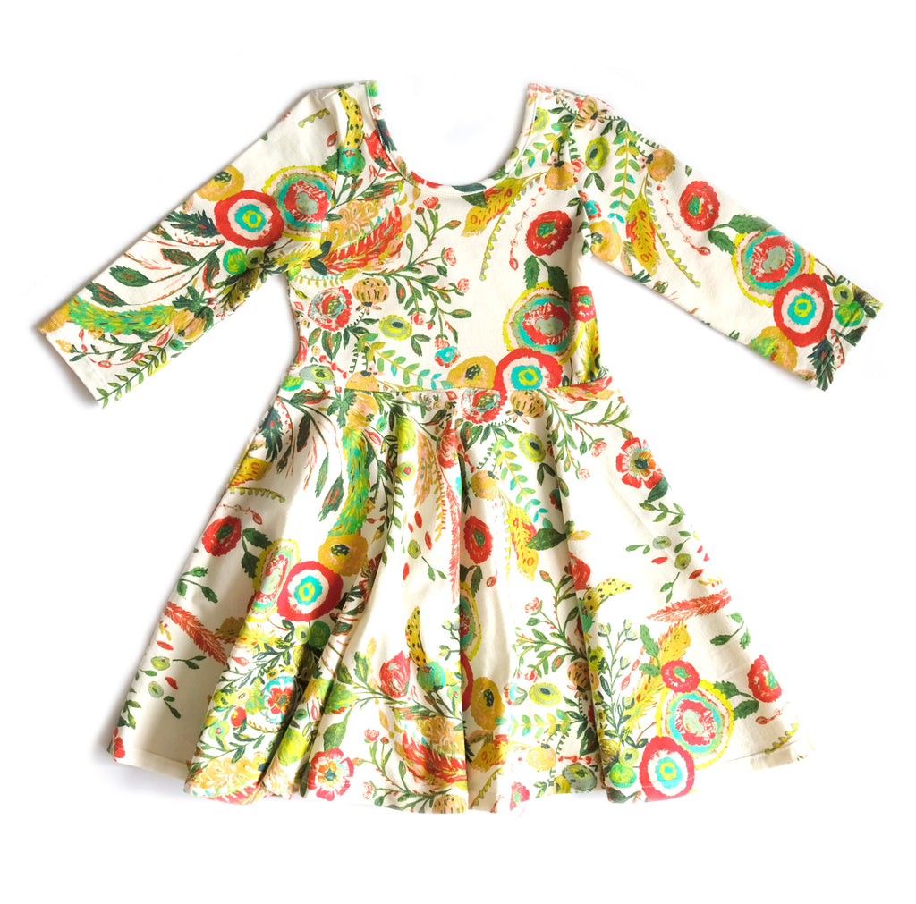 Toddler Girls Kids Children's Skater Dress in Floral Garden Tea Party