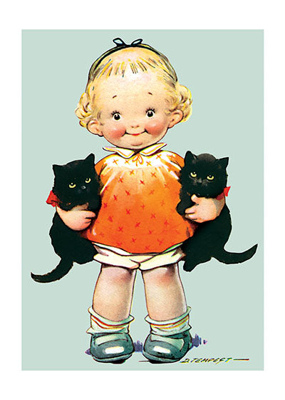 Card | Birthday | Little Girl With Kittens