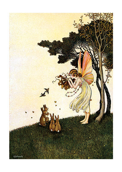 Card | Blank | Fairy Playing Pipes to Animals