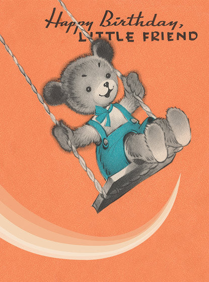 Card | Birthday | Teddy Bear on a Swing