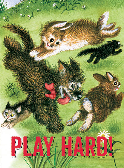 Card | Birthday | Animals Playing on Grass