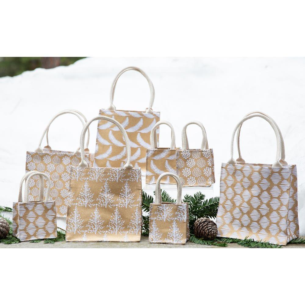 Gift Bags | Wintery Gold Metallic Small Itsy Bitsy