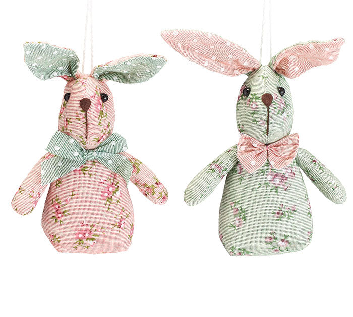 "Ornament | 5"" Floral Bunny With Polka Dot"
