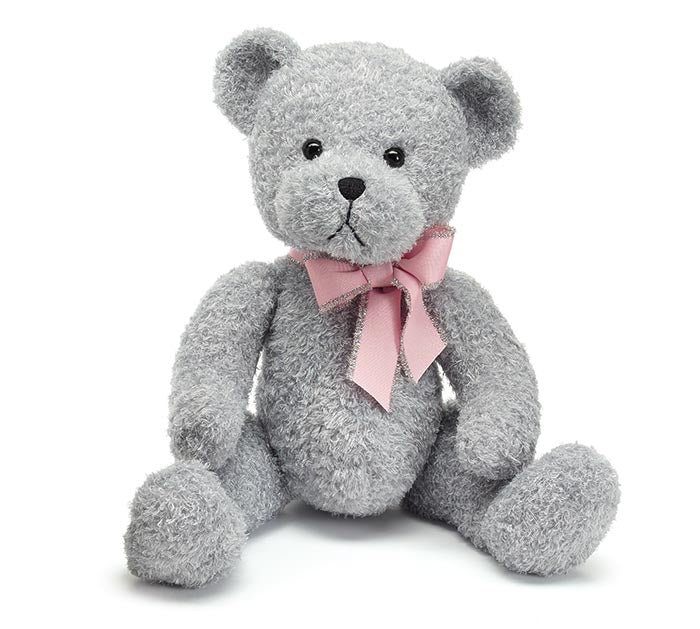 "Plush | 15"" Grey Bear With Pink"