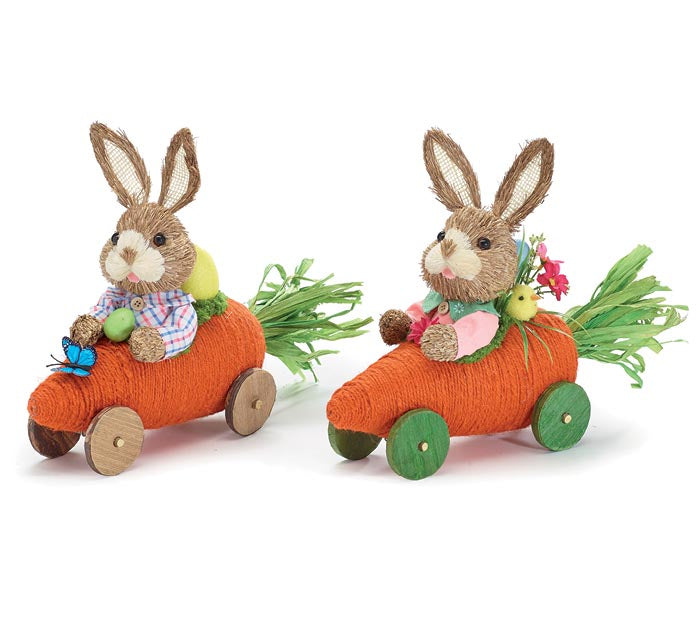 Decoration | Bunnies In A Carrot Car