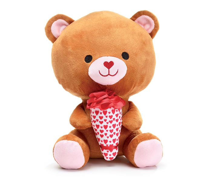 Plush | Valentine's Little Brown Bear Holding Flower Bouquet