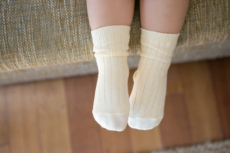 Over the Ankle Ribbed Socks | Ivory