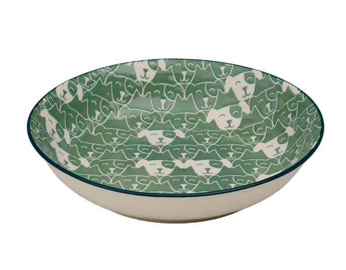 Shallow Dog Bowl | Patch in Light Teal