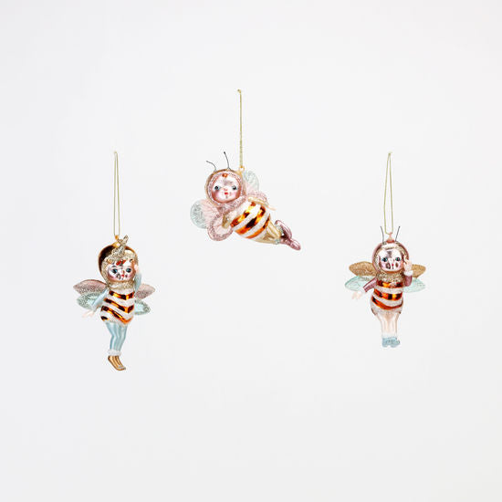 "Ornament | Glass Bee Cupies | 3.25""-4.5"""