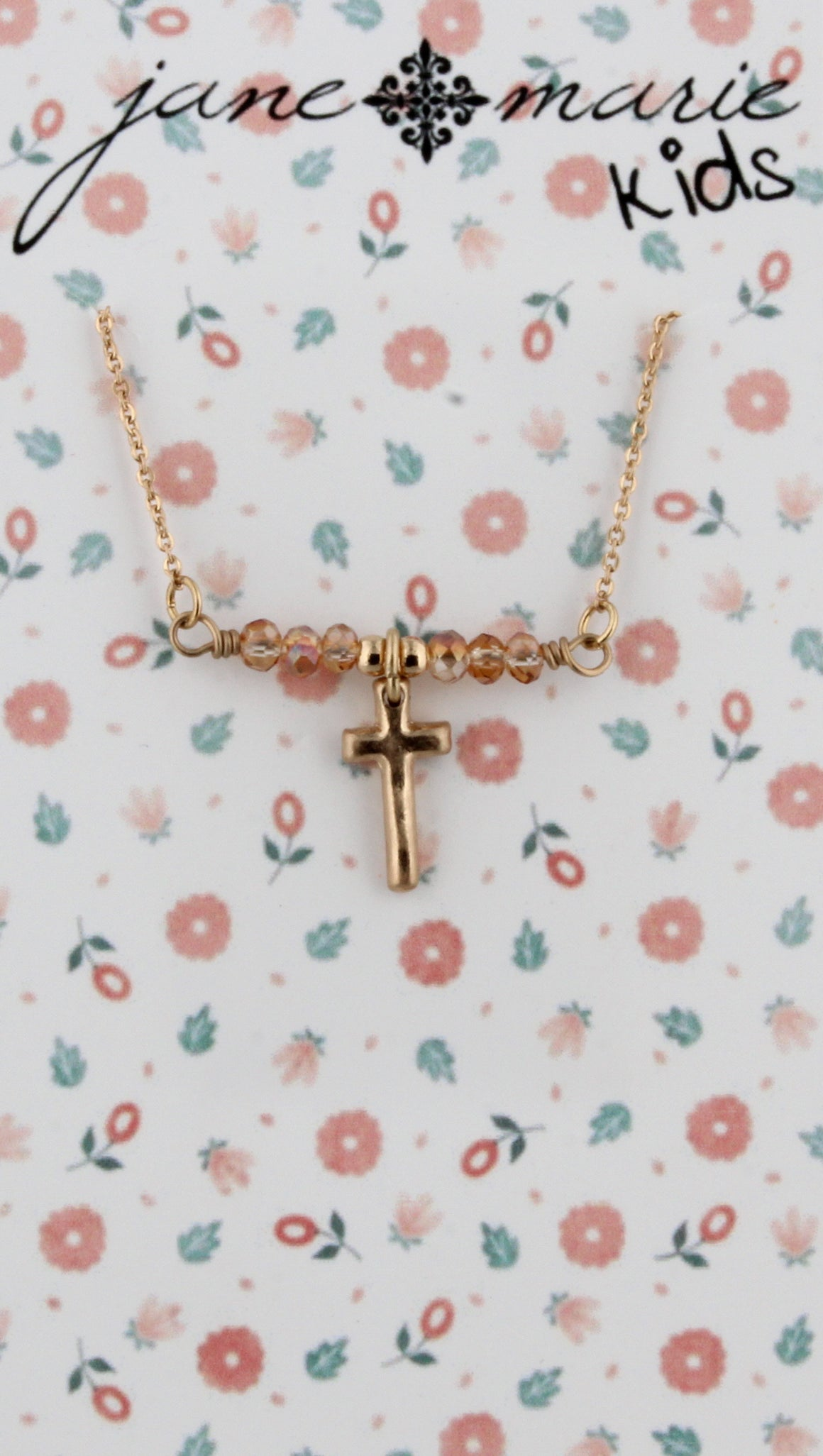 Peach Shiney Cross Necklace
