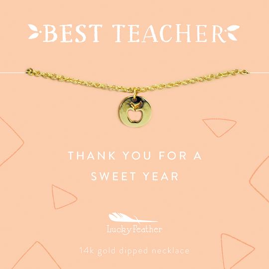 Necklace | Gold Apple Teacher