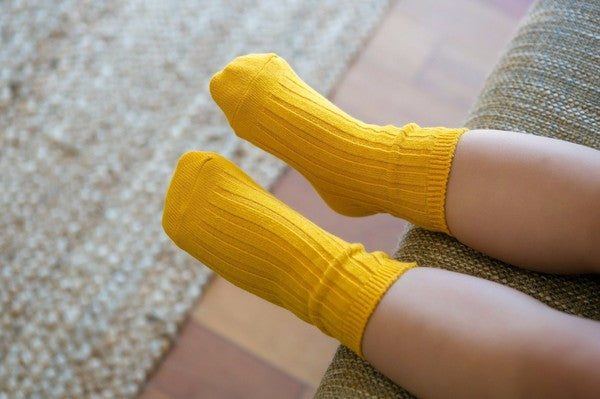 Over the Ankle Ribbed Socks | Yellow