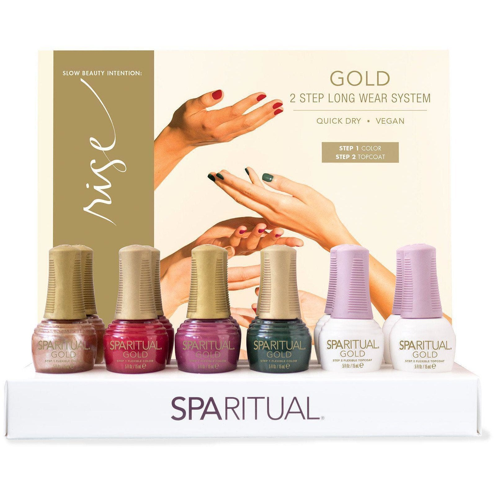 Nail Lacquer & Polish SpaRitual Holiday GOLD 2016 Rise Collection 12 Piece Display