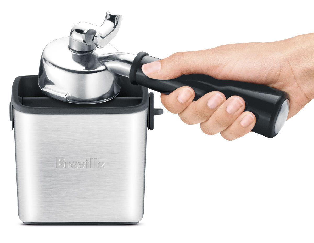 Breville Knock Box Mini - hero-in coffee
