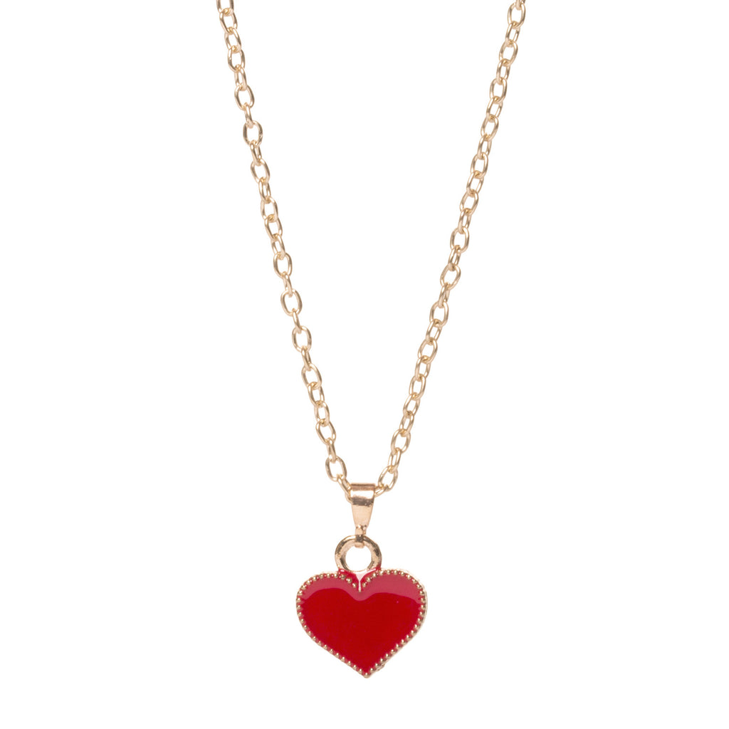 Delicate Gold Heart Necklace, Red