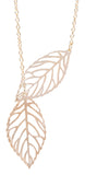 2 Leaf Chain Necklace, Gold
