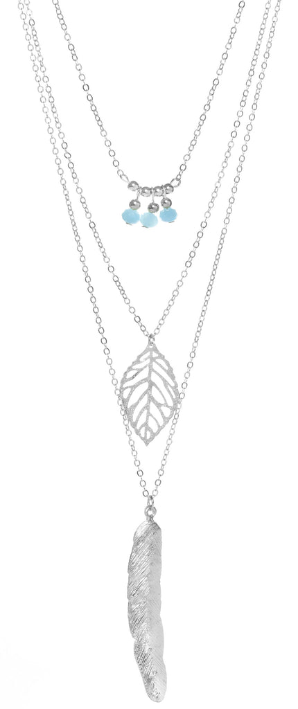 Layered Leaf & Feather Necklace, Silver