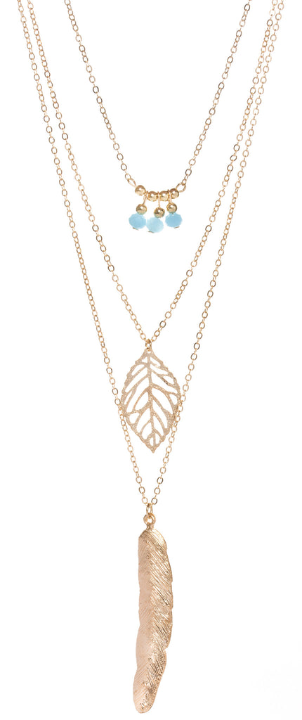Layered Leaf & Feather Necklace, Gold