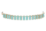 Baguette Cut Glass Stone Choker, Green