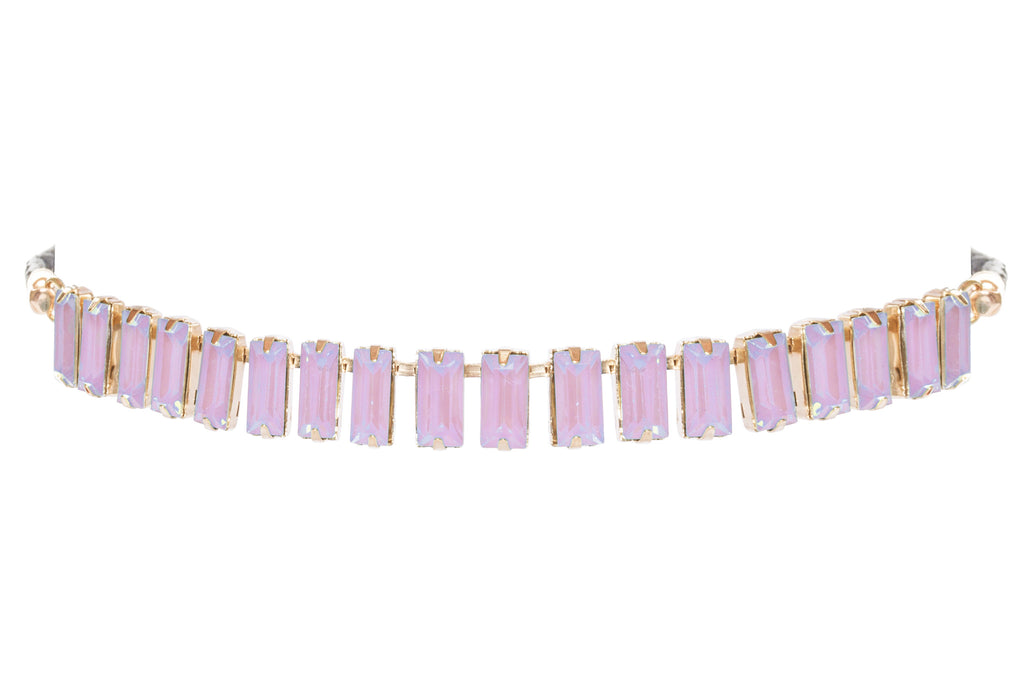 Baguette Cut Glass Stone Choker, Purple/Pink