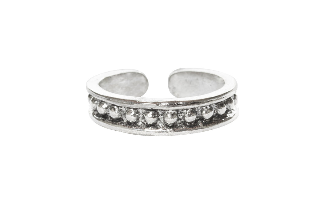 Silver Vintage Dots Design Toe Ring