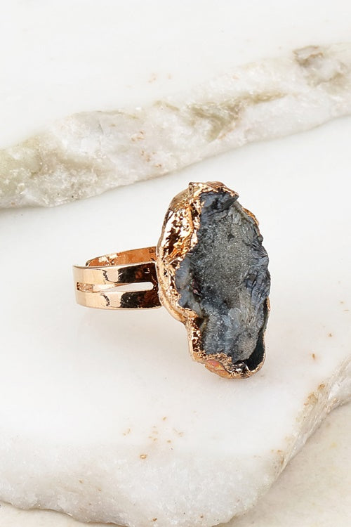 Druzy Stone Adjustable Ring, Black