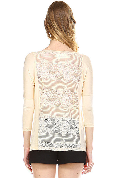 Front Zipper Back Lace Top, Oatmeal
