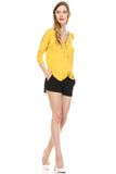 Front Zipper Back Lace Top, Mustard